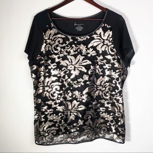 Lane Bryant 14/16 Floral Sheer Sequin Lace Top